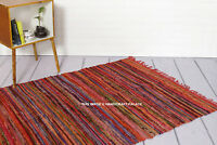 Indian Chindi Rag Rug Home Floor Decor Runner Red Yoga Mat Carpet Hand Woven 5x3