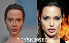KUMIK 1/6 Angelina Jolie Female Head Tomb Raider Lara Croft F HT Toy Phicen Body