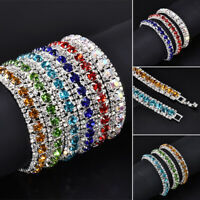 Women Crystal Rhinestone Bangle Wedding Bridal Wristband Bracelet Jewelry Gift
