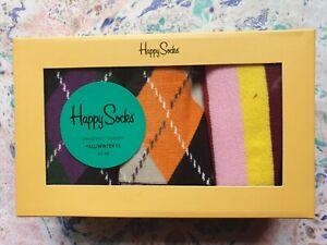 Happy Socks Men's Cotton Socks 3 in Box Stripe & Argyle 1-Size 7.5-11.5 EU 41-46