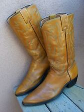 JUSTIN Mens Cowboy Boots Rich Cognac Tan Cowhide Leather Western Riding Size 9D