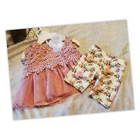 NEW Little Lass Baby 0-3Months Girls  print capri set NWT Floral Lace Infant