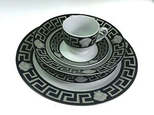 DINNER SET OF 20 PIECES BLACK & SILVER WITH MEDUSA PRINT SCRATCH & DENT SALE