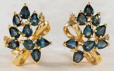 SAPPHIRE & DIAMOND EAR CLIPS 14K GOLD
