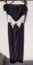 Womens 11/12 full length black dress with v neck white bow in front made in USA