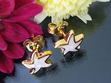 Damen Stern Ohrstecker 925 Sterling Silber Gold Vergoldet Weiß-Opal Ohrringe