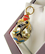 ONE OF A KIND MADE SOLID STERLING SILVER 925 & 24K GOLD EGG PENDANT W/ DOLPHINS