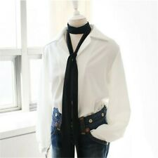 Women Fashion Spring Summer Narrow Scarf Bag Handle Scarf Black Polka Dot