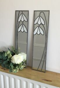 15.5x61cm Snowdrop  pair Stained Glass effect mirror Handmade in the UK