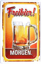 Retro Blechschild 20x30 Freibier morgen Bierkrug lustiger Theken Spruch BAR