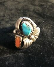 Old Pawn Sterling Turquoise Coral Men's Ring Size 9.5 Hopi Native American Mark?