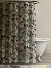 Envogue Home Cotton Shower Curtain Gray Floral Print  NEW