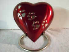 """4"""" Royalty Red w/Pewter Walking Paws Brass Heart Urn~Large holds up to 12 lbs."""