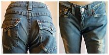 True Religion Womens 27x30 Destroyed Distressed Flare Light Wash Denim Jeans 27