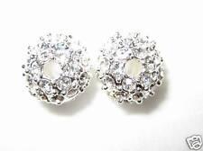 2 10mm Swarovski Pave Ball Beads Silver / Crystal AS14