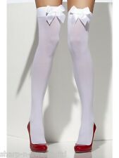 Ladies Black White Blue Red Pink Bow Top Fancy Dress Stockings Socks 10 COLOURS