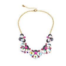 NEW Anthropologie Duschian Beetle Rainbow Glint Black Pink Rhinestone Necklace