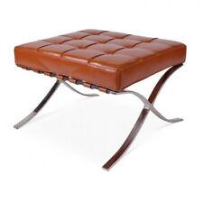 Modern Contemporary Brown Premium Italian Leather Barcelona Design Footstools