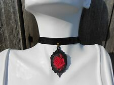 """VELVET CHOKER NECKLACE WITH RED ROSE CAMEO PENDANT (3/8"""")- WEDDING, VICTORIAN,"""