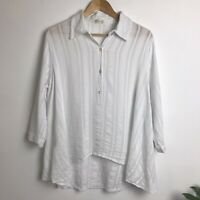 Just Living Size L White Cotton Swing Lagenlook Dipped Hem Top