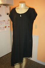 MLLE GABRIELLE size 24 Black Polyester Dress Hem Tassel Beaded Evening Cocktail
