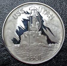 """PEARL HARBOR USS UTAH BB-31  MEDALLION - 1.5"""" Dia. 31.15 grams .999 Silver"""