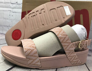 FitFlop Lottie Chevron Sandals Oyster Pink Suede Back-Strap Size 10 New With Box