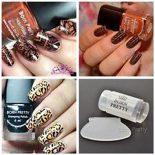2Bottles Nail Art Holographic Polish Stamping Varnish W/Stamper & Scraper Kit