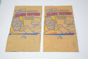 2 Burger King The Simpsons Talking Watches Brown Paper Bags sz #12 Promotional