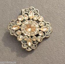 Vtg (No Name) Victorian Gatsby Yellow Faux Diamond Brooch / Pin Costume Jewelry
