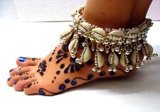 New Kuchi Tribal Belly Dance Cowries Anklet Silver Bells Payal Jewelry India