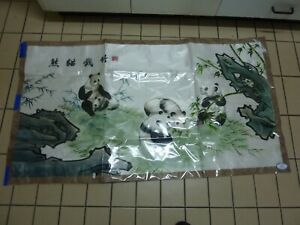 Chinese  Panda Bear Silk Embroidery embroiding  wall picture