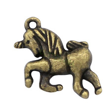 4 Bronze Unicorn Charms  16mm LF NF Unicorn Pendants