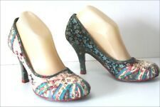 IRREGULAR CHOICE Escarpins Tissu Patchwork Talons T 38 TBE
