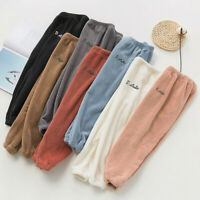 Kids Boys Girls Winter Warm Thick Fleece Loose Pants Trousers Solid Casual Pants