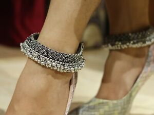 Oxidize Anklet Indian Payals Jewelry Silver Ghungroo Payal Anklets Bollywood