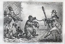 Original 1840 Gillray Copper Engraving Plate 317, The Bear and His Leader.