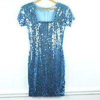Vintage 80s 90s Blue Sequin Sheath Dress Mini Wiggle Square Neck Party S 6