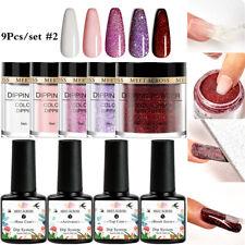 9Pcs MEET ACROSS Dipping Powder Glitter Dip Liquid Kits NO UV Lamp Nail Beauty