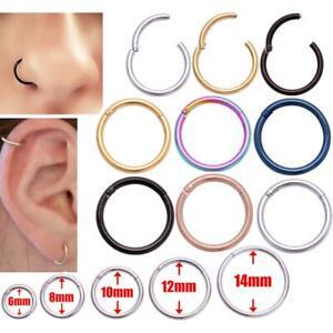 Surgical Steel Nose Ring Septum CLICKER Hinge Segment Helix Tragus Ear Piercing