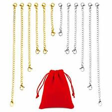 OOTSR 12Pcs Chain Extender, 5 Sizes Stainless Steel Bracelet Extension Necklace