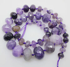 """Natural Amethyst Faceted Roundel 8-16mm Loose Beads Gemstone 17.5"""" Long"""