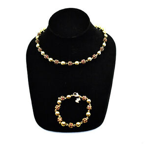 A3 Auth AGATHA PARIS Gold Tone Ball Chain W/Red Crystals Necklace & Bracelet Set