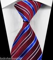 Classic Stripes Dark Red Blue White JACQUARD WOVEN 100% Silk Men's Tie Necktie
