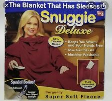 Snuggie Fleece Blanket With Sleeves Maroon One Size Adult EUC
