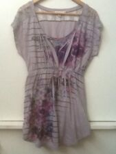 Decree Junior's Gray Purple Floral Striped Tunic Top Mini Dress L Large