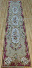 """2'6""""x12' New French Aubusson design Needlepoint hand knotted wool rug runner"""