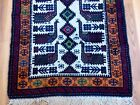 "Antique Hand Woven Caucasian Wool Rug Geometric Fringe Peacock 65"" x 34"" Vtg"