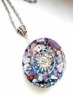 necklace Orgone Orgonite pendant Wind Rose, Charoite, Amethyst, Shungite,