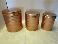 """Set 3 Canisters  Kitchen Counter Lidded Stainless Steel Copper tone 6 ¾"""" x 6"""""""